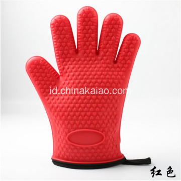 Hot Selling Oven Gloves Mitt dengan Palm Rubber Silicone Mitten